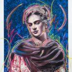 Frida Kahlo Original Blue Background with Pastels