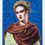 Frida Kahlo Blue Back Ground HPM 2 of 10 with Pastels