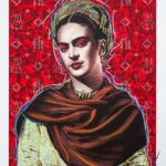Frida Kahlo Red Background HPM 7 of 10 with Pastels