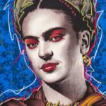 Frida Kahlo Blue Background HPM  6 of 10 with Pastels