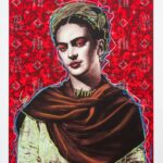 Frida Kahlo Red Background HPM 1 of 10 with Pastels