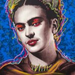 Frida Kahlo Blue Background HPM 4 of 10 with Pastels