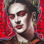 Frida Kahlo Red Background HPM 9 of 10 with Pastels