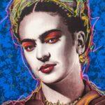 Frida Kahlo Blue Background HPM 10 of 10 with Pastesl