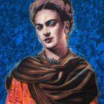 Frida Kahlo  Blue Background Original Print Hand Touched Pastels